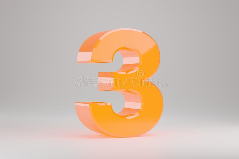 Neon 3d Number 3  Yellow Neon Number Isolated On White