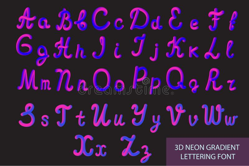 Neon 3D Typeset with Rounded Shapes. Tube Hand-Drawn Lettering. Font Set of Painted Letters. Night Glow Effect or liquid. Trendy alphabet Latin letters from A vector illustration