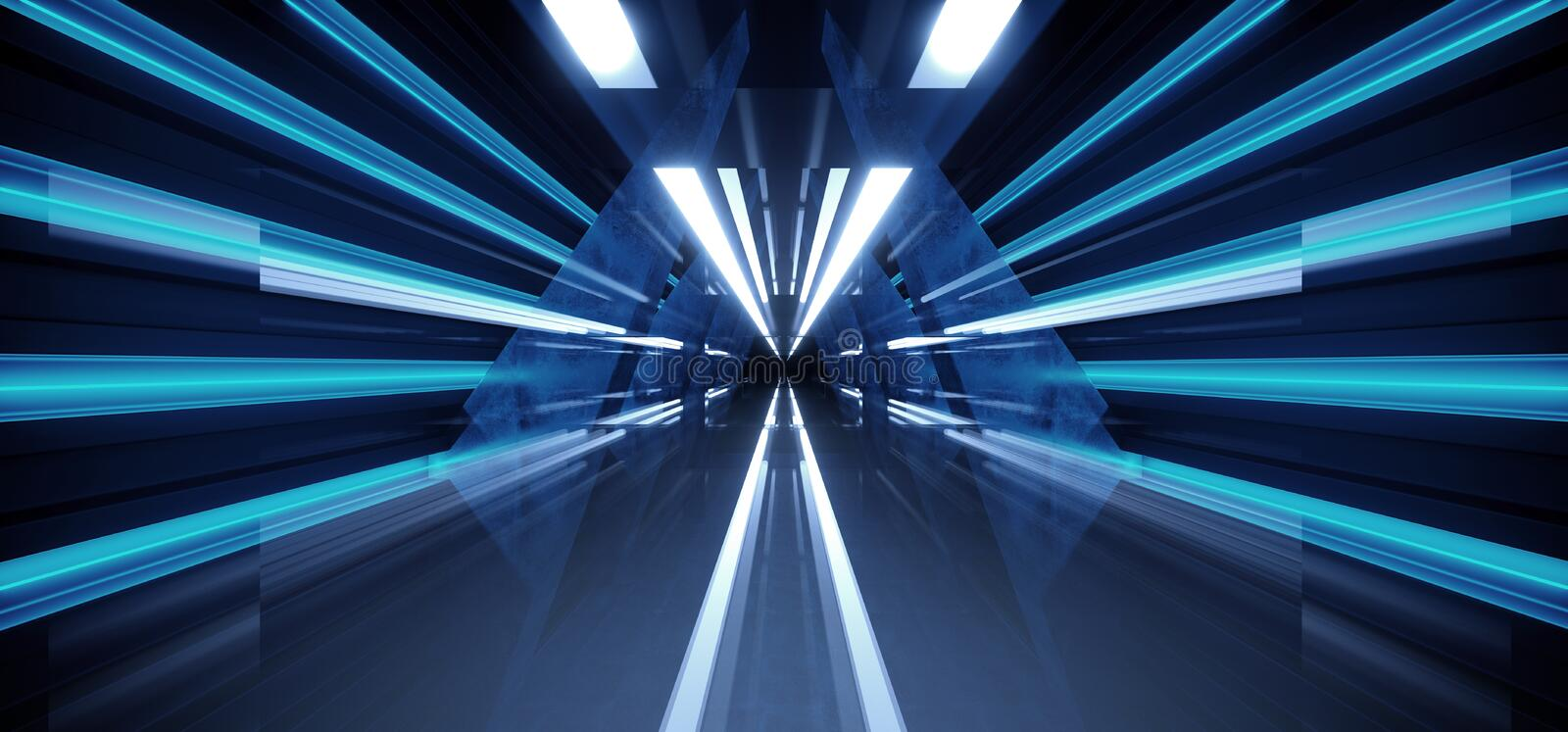 Neon Dark Stage Construction Glow Blue Retro Modern Sci Fi Futuristic Future Tunnel Corridor Hallway Grunge Concrete Reflection. Shapes Fluorescent Lasers 3D royalty free illustration
