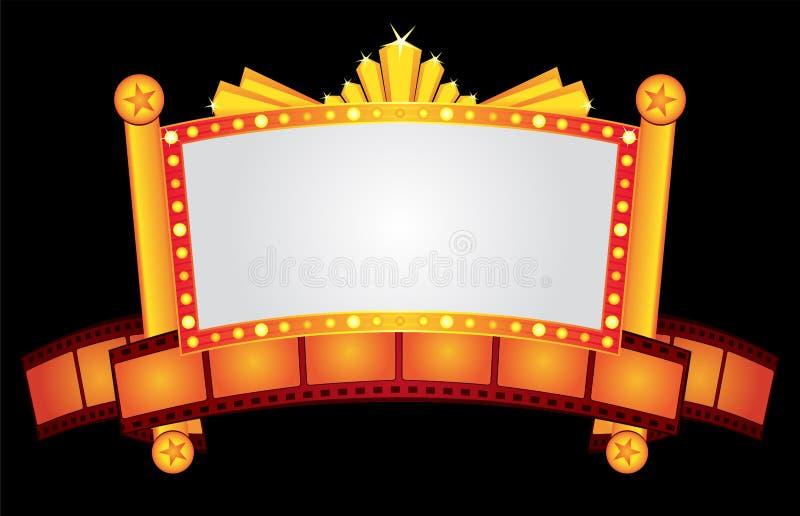 Neon del cinematografo dell'oro illustrazione vettoriale