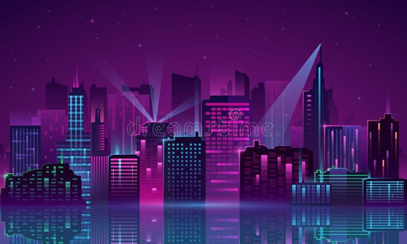 Neon della città di vettore royalty illustrazione gratis