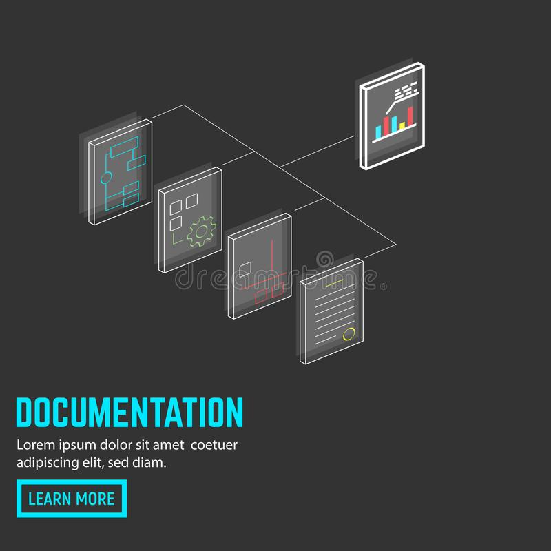 Neon document connection. Documents and papers connected. Isometric neon thin line paper docs. Flat style line modern vector illustration with retro colors vector illustration