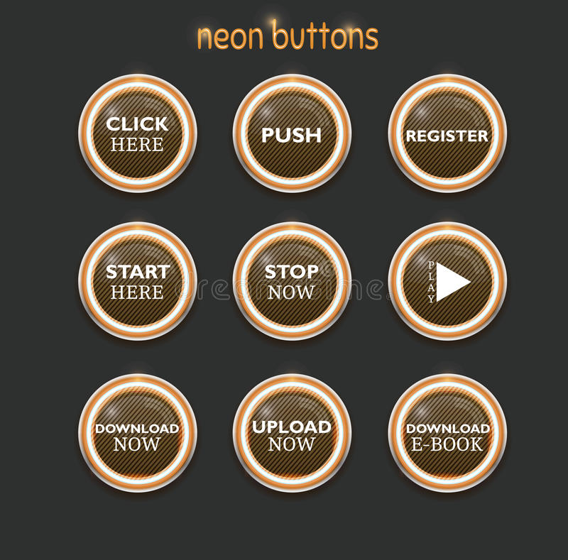 Neon dowload buttons stock illustration