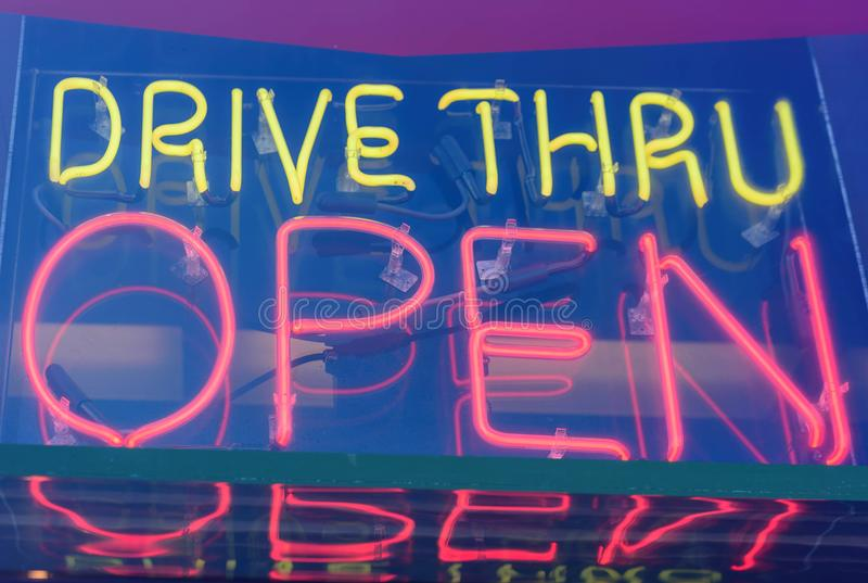 Neon drive thru sign stock photo