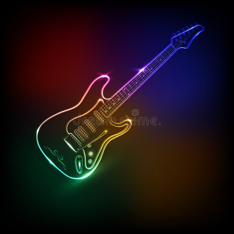 Neon electric guitar stock illustration