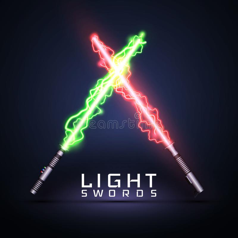Neon electric light swords. Crossed light sabers isolated on darck background. Vector illustration.  stock illustration