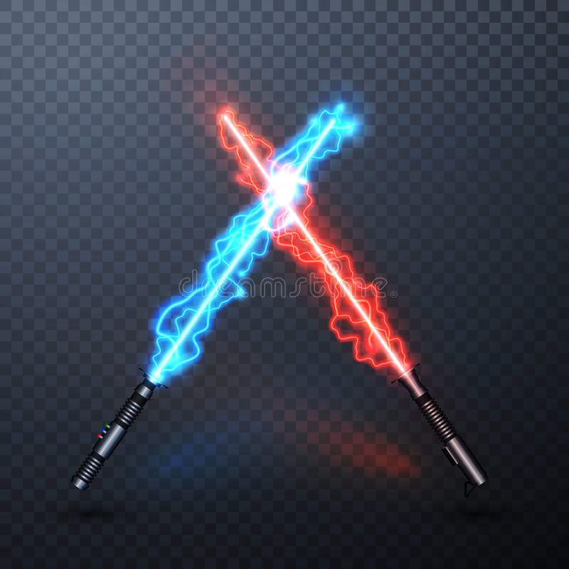 Neon electric light swords. Crossed light sabers isolated on transparent background. Vector illustration.  stock illustration