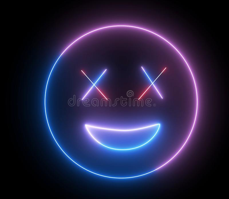 Neon emoji face, smiling sign. Web character with neon, glowing light. Isolated smiley face stock illustration