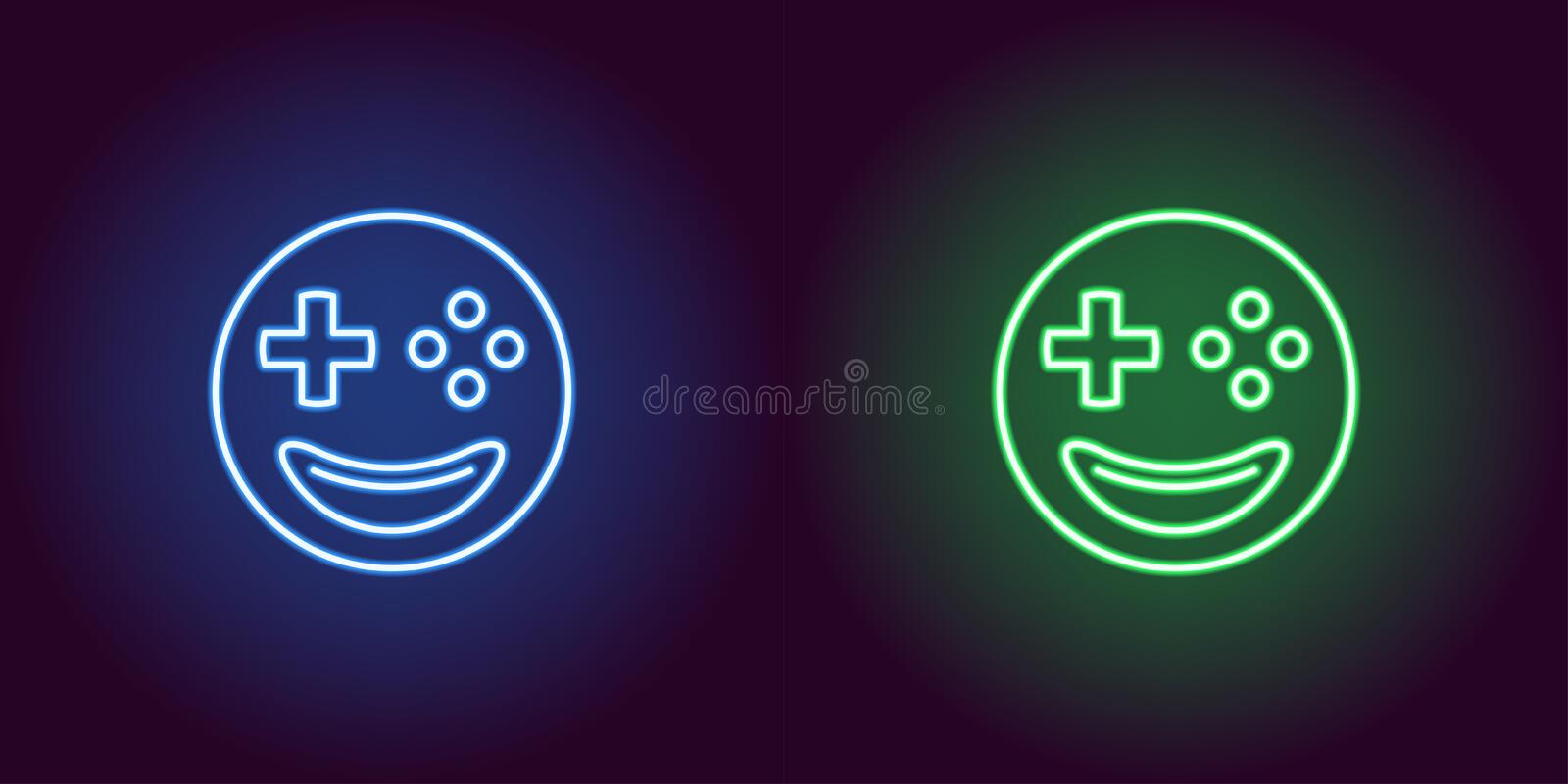 Neon emoji gamer, glowing sign. Vector emoji icon. Neon emoji gamer, glowing sign. Vector illustration of emoji player with smile and joystick buttons instead of royalty free illustration