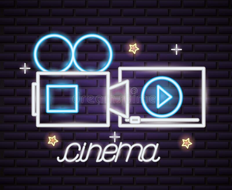 Neon för filmtid royaltyfri illustrationer