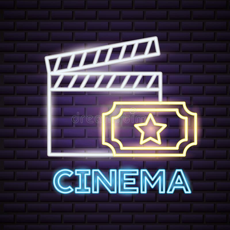 Neon för filmtid stock illustrationer