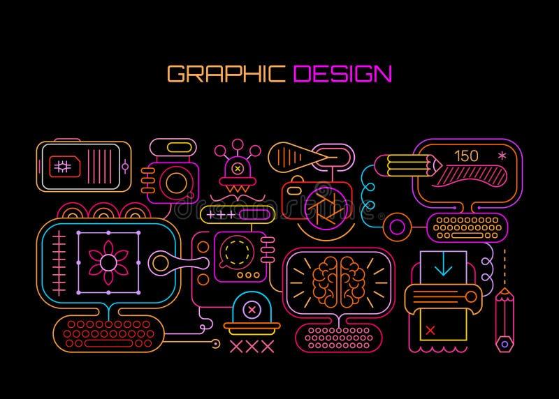 Neon för grafisk design royaltyfri illustrationer
