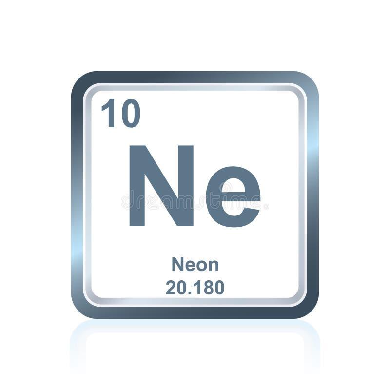 Neon för kemisk beståndsdel från den periodiska tabellen royaltyfri illustrationer