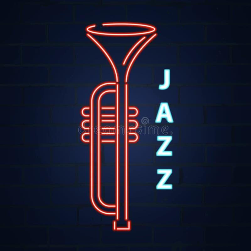 Neon för kornettjazzinstrument Jazz Music Vektorneonillustration stock illustrationer