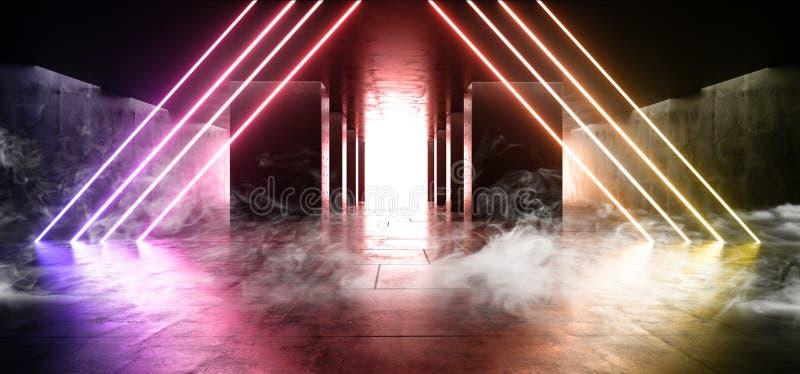 Neon för korridoren för tunnelen för rökbetongkolonner tänder faktiskt elegant modernt vibrerande lilor gula mörka Hall Garage Un vektor illustrationer