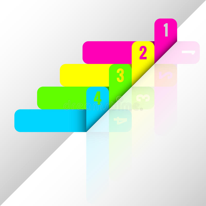 Neon file stickers. With cut numbers for marking documents and other designs vector illustration