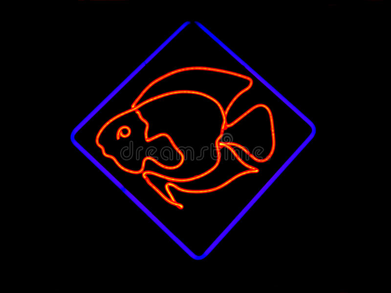 Neon Fish Shaped Sign stock image
