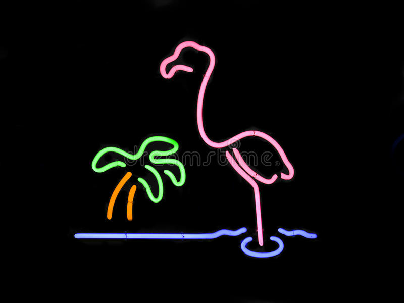 Neon Flamingo and Palm Tree stock image