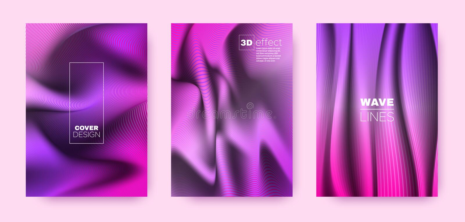 Neon Flow Cover. Pink Design Concept. Dynamic. Striped Pattern. 3d Geometric Background. Pink Vibrant Stripes. Flow Brochure. Modern Cover. 3d Movement Shapes royalty free illustration