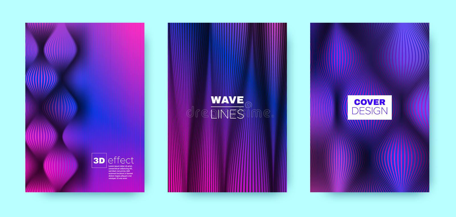 Neon Flow Poster. Headline Cover. Magenta. Business Illustration. Violet 3d Movement Halftone Texture. Wave Poster. Modern Cover. Business Brochure. Fluid royalty free illustration