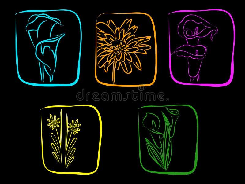 Neon Flowers Stock Photo