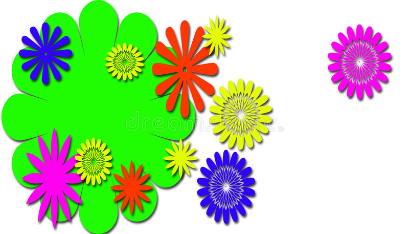 Download Neon Flowers of fun stock illustration. Illustration of cheery - 4072564