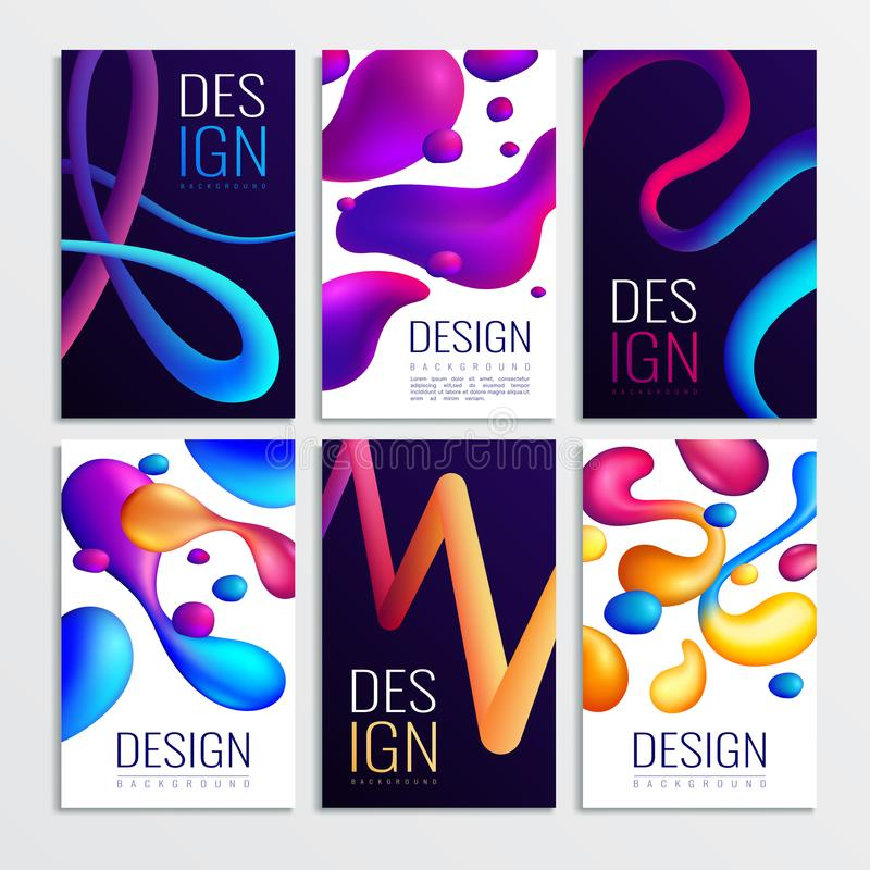 Neon Fluid Cards Set. Fluid neon holographic abstract design elements cards collection of six vertical compositions with gradient curve shapes vector stock illustration