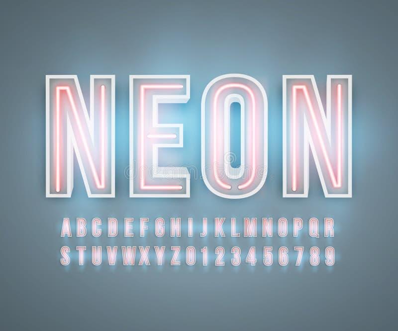 Neon font alphabet realistic effect vector stock illustration