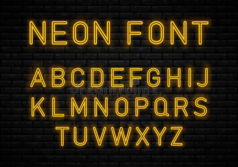 Light Neon Font royalty free illustration