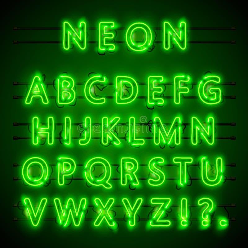 Neon font city. Neon green font eps. Lamp green font. Alphabet font. Vector illustration royalty free illustration