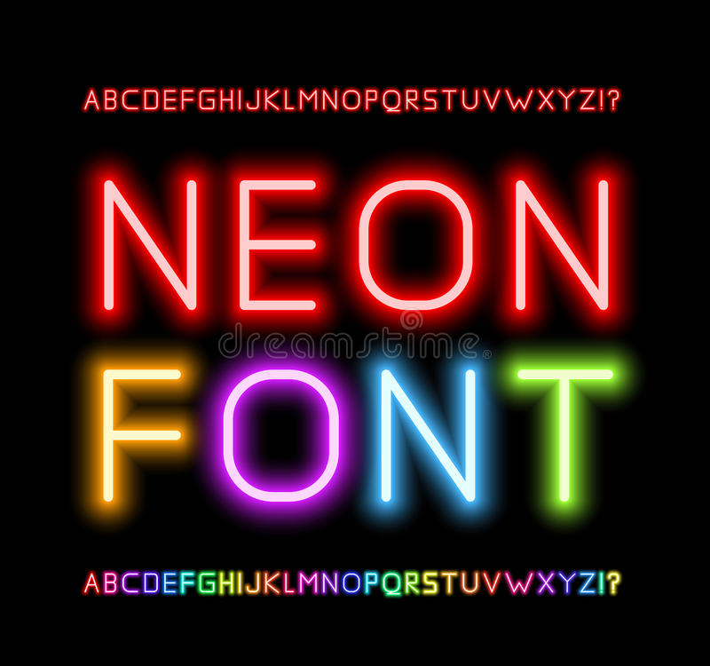 Neon Font. Realistic Neon Tube Letters. Alphabet, Vector illustration