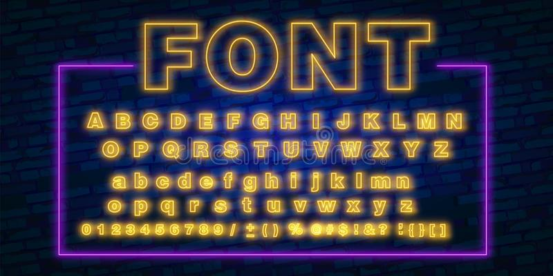 Neon font, 80s text letter glow light set. Ultra violet character abc. UV luminous effect high detailed alphabet for advertising. royalty free illustration