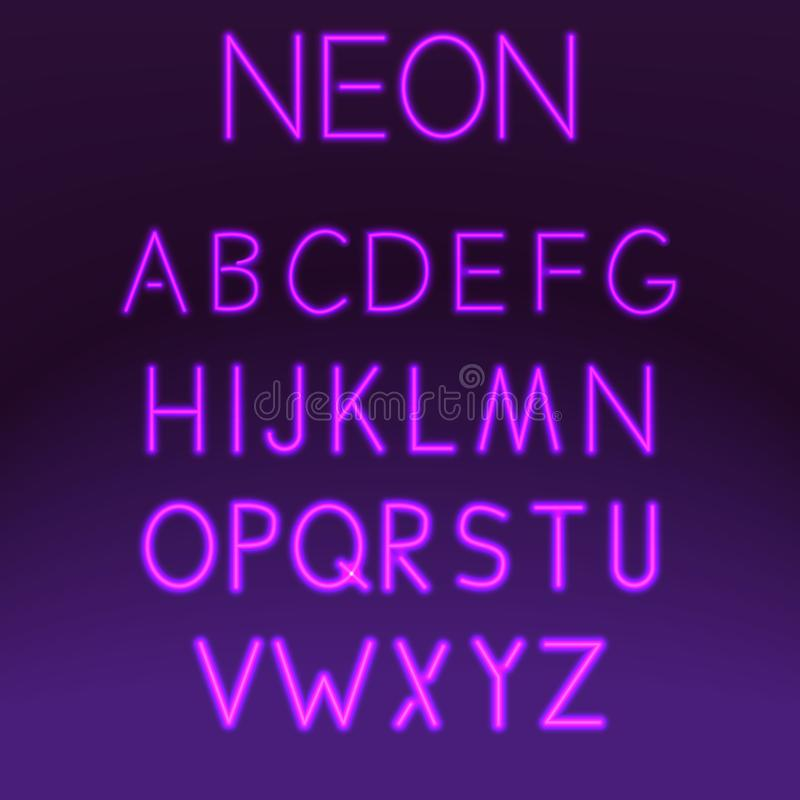 Neon font set night alphabet on purple background vector illustration. Letter electricity typography lamp type. Tube bright glowing typeset text design stock illustration
