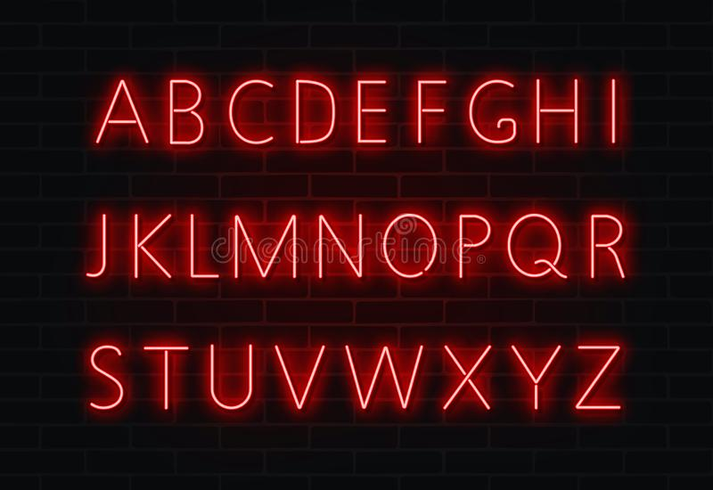 Neon font vector. Light alphabet text sign set. Glowing night font for bar, casino, party. Red wall. Alphabet, transparent light effect. Vector illustration royalty free illustration