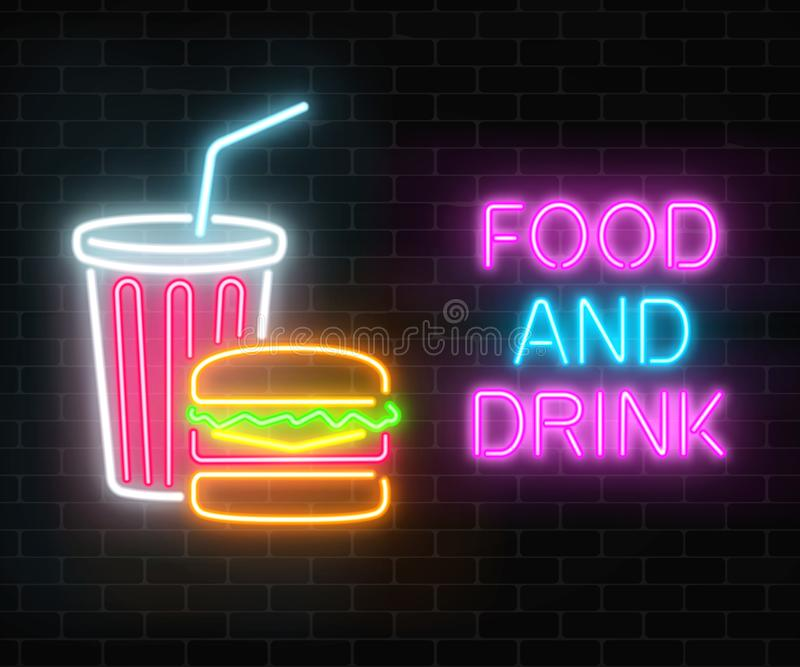 Neon food and drink glowing signboard on a dark brick wall background. Burger and plastic cup of beverage signs. royalty free illustration