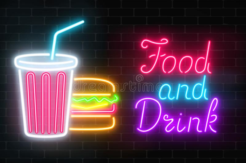 Neon food and drink glowing signboard on a dark brick wall background. Plastic cup of beverage and burger signs. Neon food and drink glowing signboard on a dark royalty free illustration