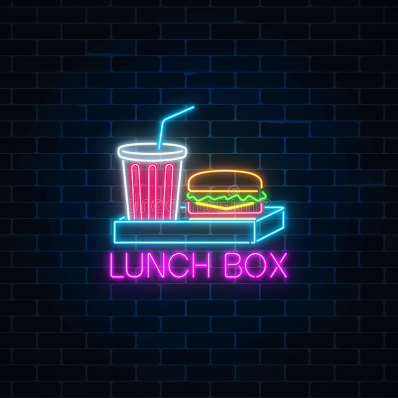 Neon food and drink lunch box glowing signboard on a dark brick wall background. Burger and plastic cup signs royalty free illustration