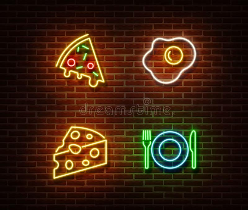 Neon food signs vector isolated on brick wall. Pizza, cheese, egg fried, plate vector illustration