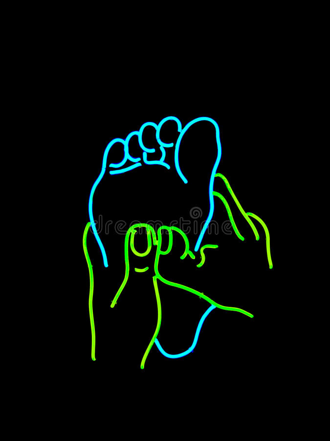 Neon foot massage sign stock images