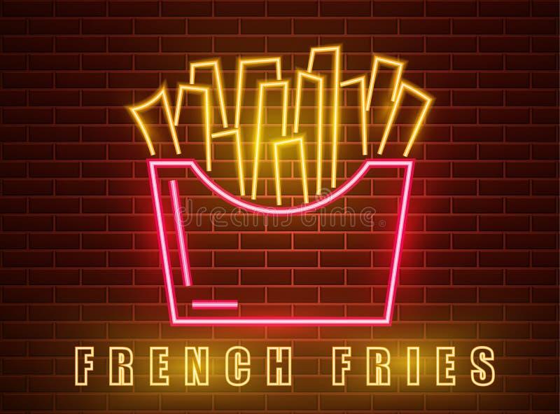 Neon fries Vector poster. Glowing sign dark city background. Fastfood light billboard symbol. Cafe menu items. Neon fries Vector poster. Glowing sign dark city royalty free illustration