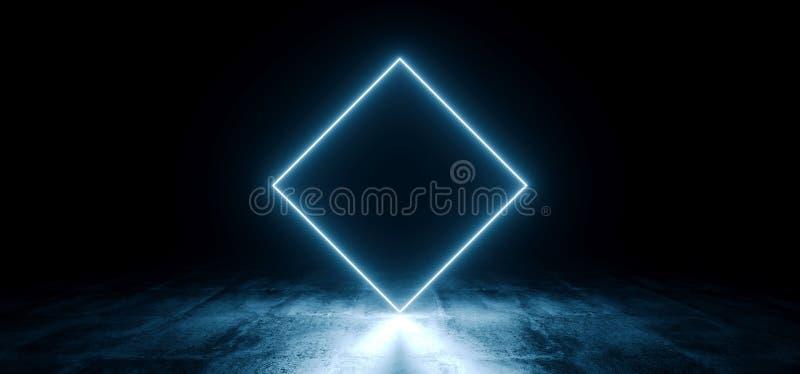Neon Futuristic Background Cyber Retro Blue Ultraviolet Vibrant Glowing Rombus Rectangle Shaped Fluorescent Luminous Elegant Alien. Dance Stage Gallery Lights vector illustration