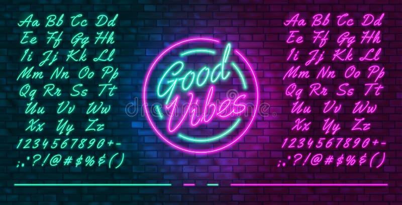 Neon futuristische Schriftart, leuchtend blau und rosa Groß- und Kleinbuchstaben, farbenfrohe, von Hand gezeichnete, leuchtende,  stock abbildung