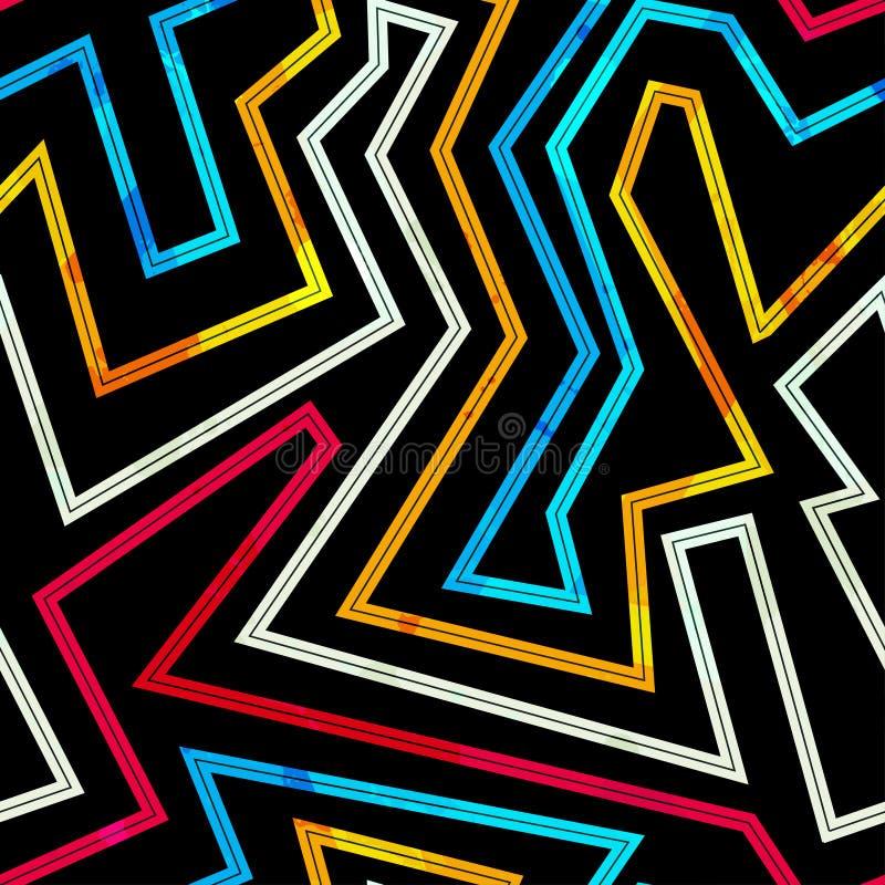 Neon gör randig den sömlösa modellen stock illustrationer