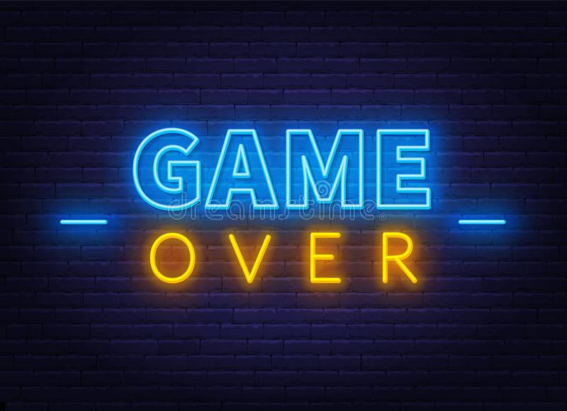 Neon Game Over Sign On Brick Wall Background Stock Illustration Illustration Of Poster Background 145573991