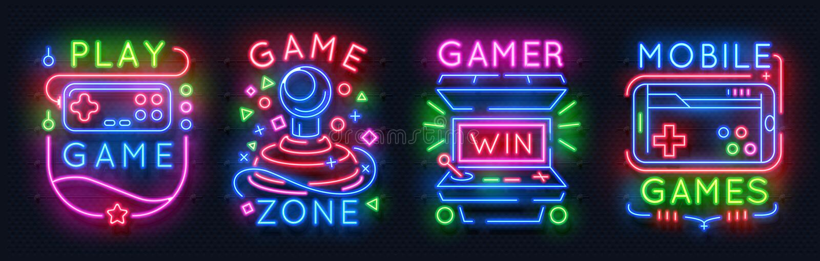 Neon game signs. Retro video games night light icons, gaming club emblems, arcade glowing posters. Vector game royalty free illustration