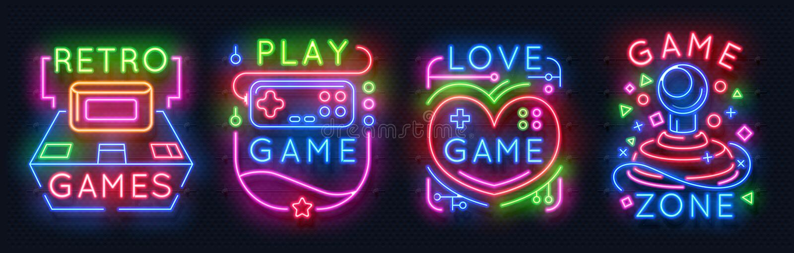 Neon game signs. Retro video games zone, player room glowing emblems, night light labels. Vector glowing gamer icons. Neon game signs. Retro video games zone vector illustration