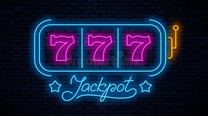 Neon gaming slot machine 777. Neon sign design. Vector game machine. Design lettering Jackpot vector illustration