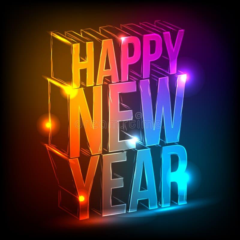 Neon. Gelukkig Nieuwjaar vector illustratie