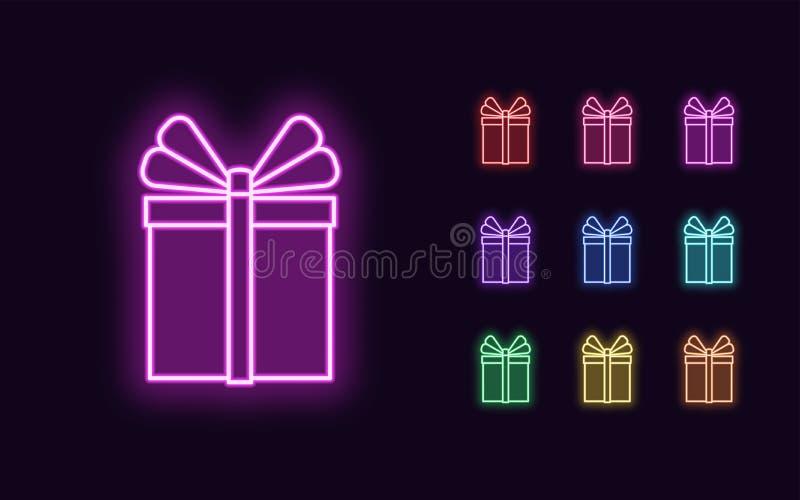 Neon Gift Box, jul och nyår vektor illustrationer