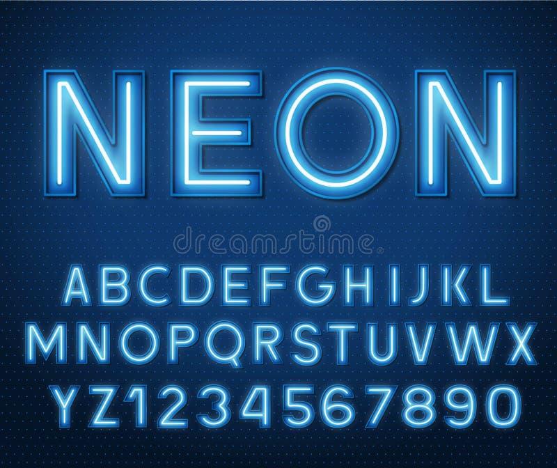 Neon glühende blaue 3D-Buchstaben und -Zahlen lizenzfreie abbildung